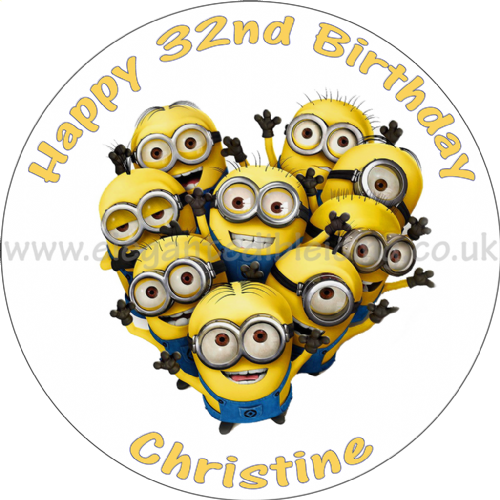 MINIONS ROUND EDIBLE BIRTHDAY CAKE TOPPER